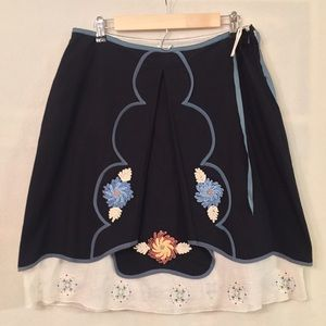 NWT Snak Anthropologie embroidered pleated skirt